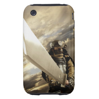 Asian man wearing samurai armor and holding iPhone 3 tough cover