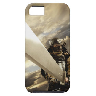 Asian man wearing samurai armor and holding iPhone 5 case