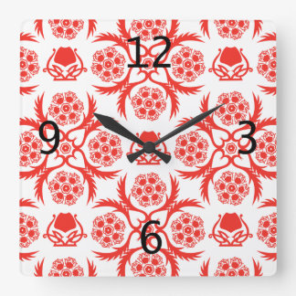 Asian/Middle Eastern pattern (Red) Square Wall Clock