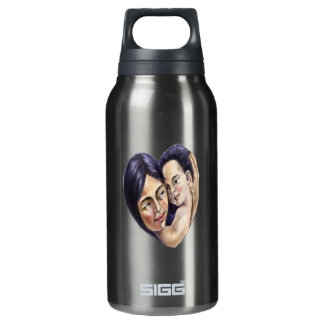 Asian mother and child heart insulated water bottle