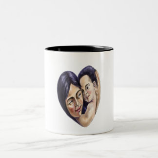 Asian Mother and Child heart Two-Tone Coffee Mug