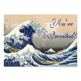 Asian Ocean Great Wave off Kanagawa Custom Invites