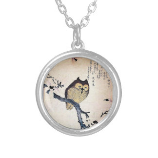 Asian Owl Round Pendant Necklace