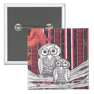 Asian Owls buttons