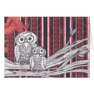 Asian Owls Card card
