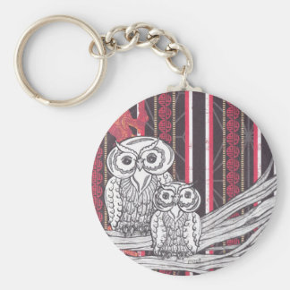 Asian Owls keyring Basic Round Button Keychain