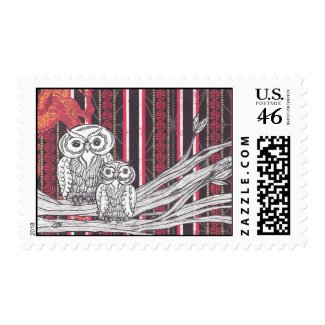 Asian Owls postage stamp