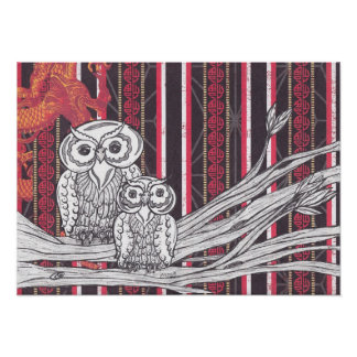 Asian Owls Print