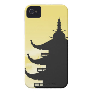 Asian Pagoda Silhouette at Dawn iPhone 4 Cases