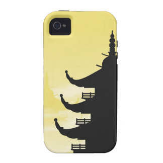 Asian Pagoda Silhouette at Dawn iPhone 4 Cover