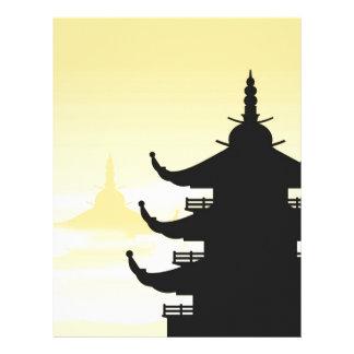 Asian Pagoda Silhouette at Dawn Letterhead