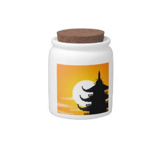 Asian Pagoda Silhouette at Dusk Candy Jar