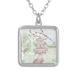 Asian Pagoda Silver Plated Necklace