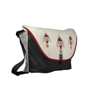 Asian Paper Lantern Pixel Art Messenger Bag