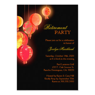 Asian Paper Lanterns Retirement Party Invitations