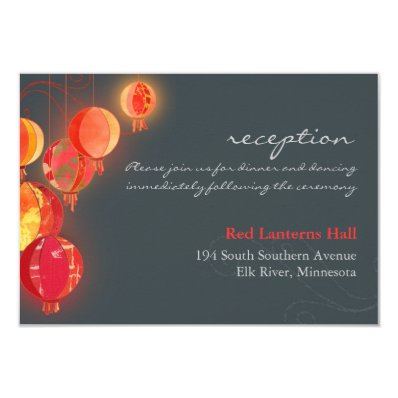 Asian Party Lanterns Wedding Reception Enclosure 3.5x5 Paper Invitation Card