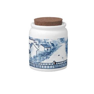 Asian pattern on porcelain, candy jars