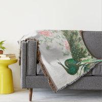 Asian Peacock Birds Peony Flowers Throw Blanket