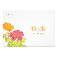 Asian Peonies Monogram Wedding RSVP (3.5x5) Custom Invitations