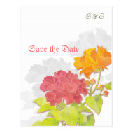 Asian Peonies + Silhouettes Save the Date Postcard