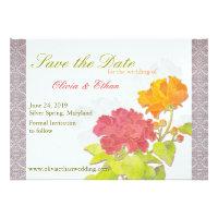 Asian Peony + Damask Floral Wedding Save the Date Custom Invitation