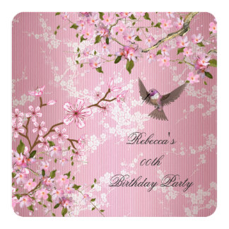 Asian Pink Blossom Birthday Party Flowers Bird 2 Card