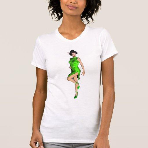 Asian Pinup in Green Cheongsam Tshirt
