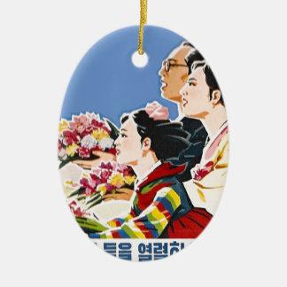 Asian poster ceramic ornament
