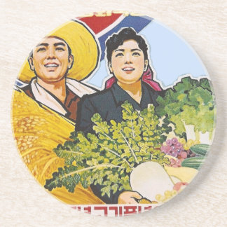Asian poster drink coaster