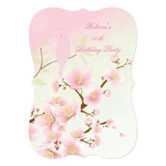 Asian Pretty Pink Cherry Blossom Birthday Party Card