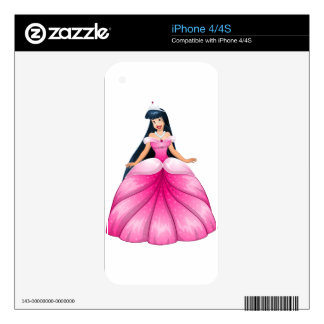 Asian Princess in Pink Dress iPhone 4S Decals