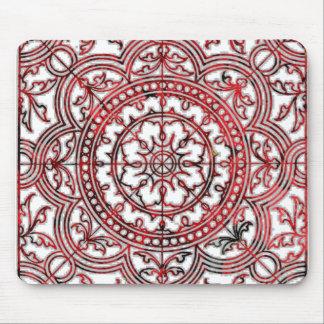 Asian Red  Ornament Mandala Mouse Pad