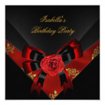 Asian Red Rose Black  Birthday Party 5.25x5.25 Square Paper Invitation Card