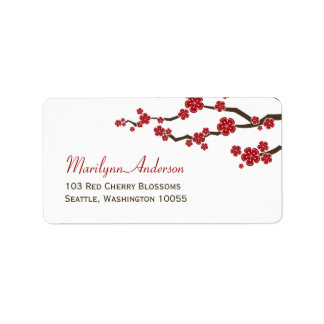 Asian Red Sakura Cherry Blossoms Address Labels