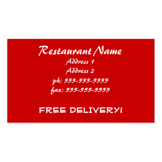 Asian Restaurant Chinese Take Out Free Delivery Business Card