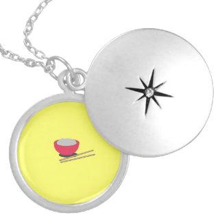 Asian rice round locket necklace