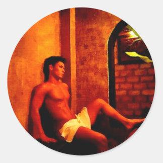 Asian Sauna Dreams Classic Round Sticker
