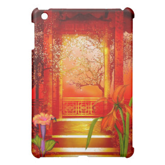 Asian Scene Gold Red Floral iPad Mini Covers