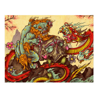 Asian scene with foo dog and dragon postcard