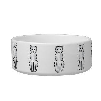 Asian Self & Tortie Cat Cartoon Bowl