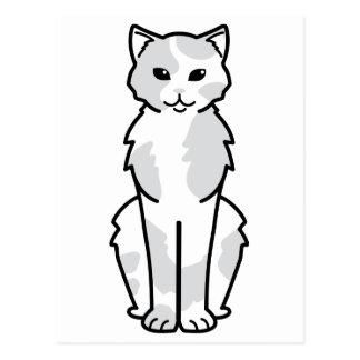 Asian Self & Tortie Cat Cartoon Postcard