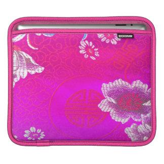 Asian silk print deep red pink tao chi symbols iPad sleeves