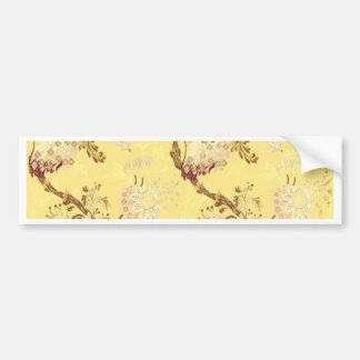 Asian silk screen yellow cold vintage lovely chic car bumper sticker