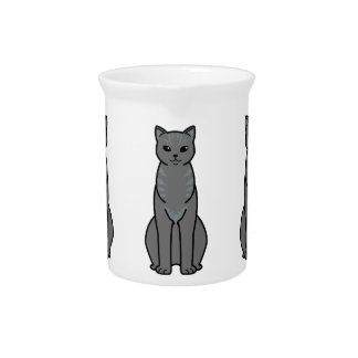 Asian Smoke Cat Cartoon Beverage Pitcher