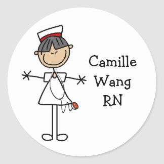 Asian Stick Figure Nurse T-shirts and Gifts Classic Round Sticker