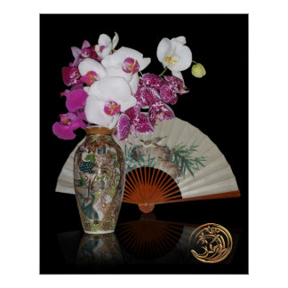 Asian still life orchids and painted fan on black poster