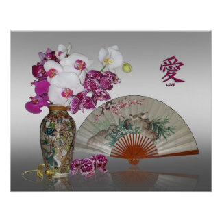Asian still life orchids and painted fan poster