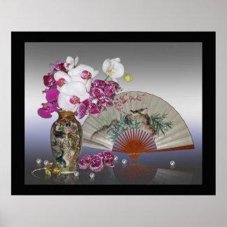 Asian still life orchids wall art