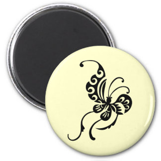 Asian Style Butterfly Design 2 Inch Round Magnet