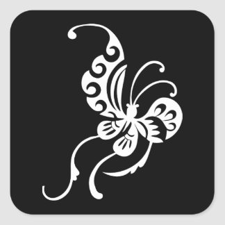 Asian Style Butterfly Design Square Sticker